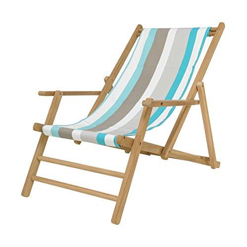 Maxx Deckchair Liegestuhl Designers Guild - Streifen tarifa türkis/weiß