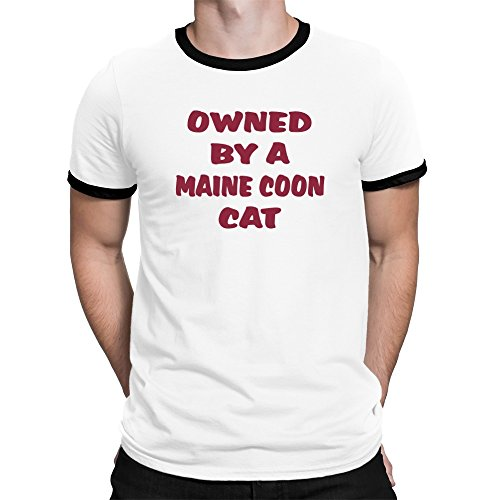 Teeburon OWNED BY A Maine Coon CAT Ringer T-Shirt (Ringer Cat T-shirt)