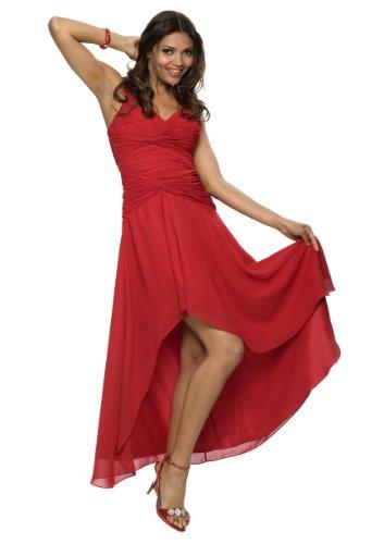 Astrapahl Damen Cocktail Kleid mit schönen Raffungen, Knielang, Einfarbig, Gr. 40, Rot