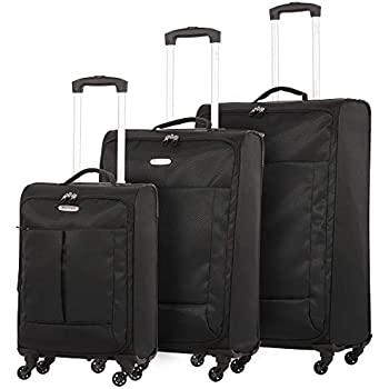 """7a35c5d80 5 Cities Ultra Lightweight 4 Wheel Spinner Travel Trolley 3 Piece Luggage  Suitcase Set, 21"""" Hand Cabin Luggage + 24"""" Medium and 28"""" Large Check in  Hold ..."""
