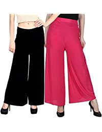 Palazzos : Combo Pack Of Two(rani/dark Pink + Black)colour Rayon Free Size Palazzos