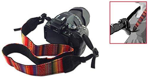 Vintage Retro Kameragurt Schultergurt orange-rot Trageriemen Tragegurt Schulterriemen für DSLR & Kompaktkameras, sicherer Schulterpolster von Mind-Care-Essentials (o/r) -