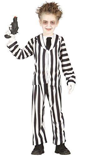 Jungen schwarz weiß Beetlejuice Crazy Ghost Halloween Film Kostüm Kleid Outfit 3-12 jahre - Schwarz/weiß, 7-9 Years