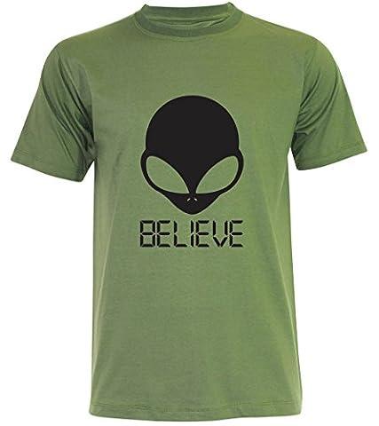 PALLAS Unisex's Alien UFO Believe T-Shirt -PA368 (Jungle Green , 2XL)