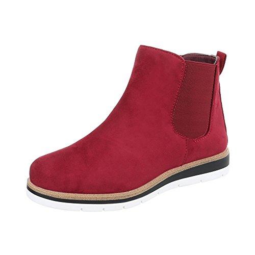 Ital-Design Scarpe da Donna Stivali Piatto Chelsea Boots Bourgogne H947