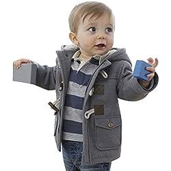 Algodón Abrigo para Niños - Invierno Duffle Calentito Chaquetas con Capucha Moda Elegante Horn Botón Abrigo Ropa para Bebés Niños gris / 100