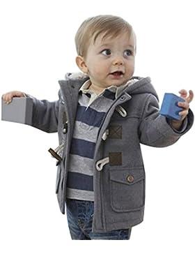 Algodón Abrigo para Niños - Invierno Duffle Calentito Chaquetas con Capucha Moda Elegante Horn Botón Abrigo Ropa...