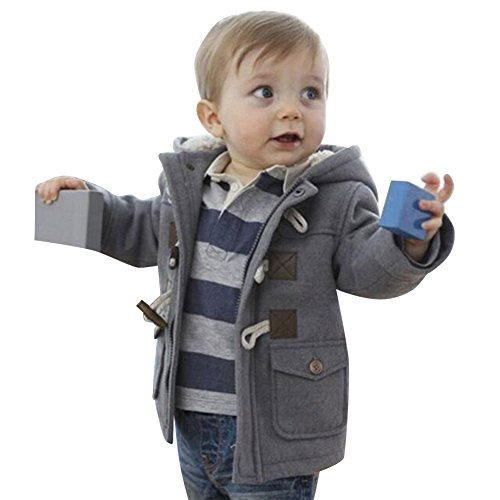Highdas Kinder Duffle Mantel Winter Warm Fleece Baumwolle Kapuzen Horn Knopf Snowsuit Grau / 90