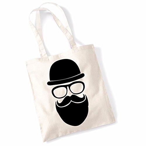Bowler Hipster Printed Beach Tote Bag - Natural -