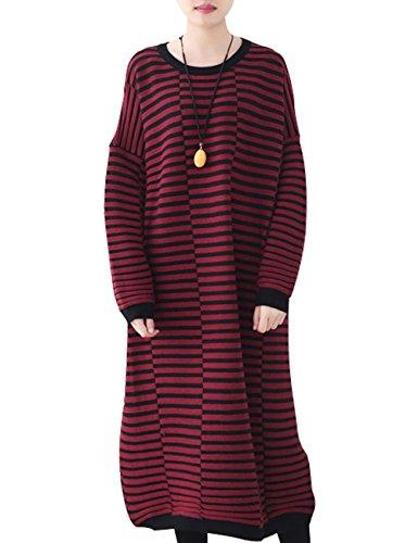Youlee Donna Inverno Autunno Taglia grossa Vestito Lungo Vestito da jumper Stile 4
