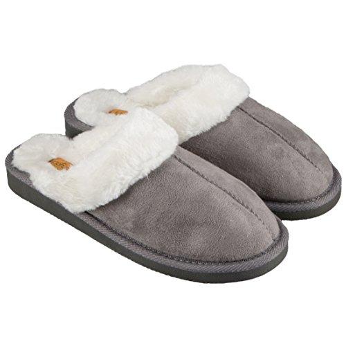 Berydale Damen Warme Pantoffeln, Grau (Hellgrau), 40 EU
