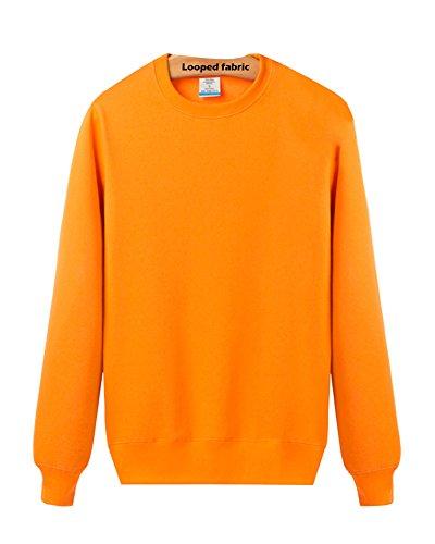 LaoZan Sweatshirt / Felpa a manica lunga da Unisex , Girocollo Tinta Unita Orange + primavera