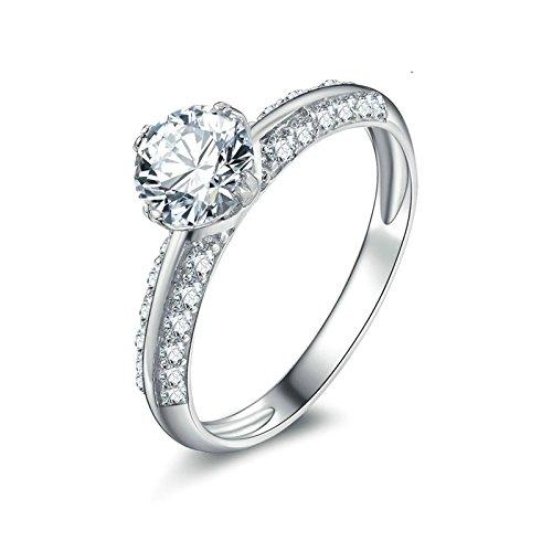 Beydodo 925 Silber Ring Verlobung 4-Steg-Krappenfassung Rund Brillant Weiß Zirkonia Eherring Partner Ring Silber Gr.50 (15.9)