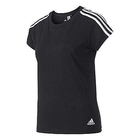 adidas ESS 3S Slim Tee T-shirt für Damen, Schwarz (Schwarz / Weiß), L