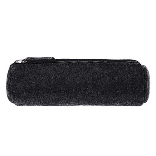 exing escuela estuche escolar de lápiz porte-stylo bolsa de almacenaje de la escuela niña maquillaje bolsa, bolsillo zip feutrée redonda, bolsa Kawaii, color Negro 7.87inx2.76in