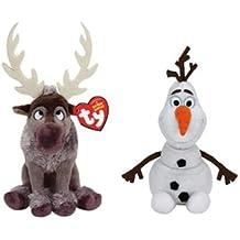 Set of 2 Ty Beanie Babies Disney Movie Frozen Plush - Sven Reindeer & Olaf by Ty
