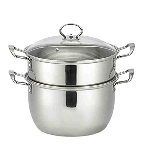 26cm Induction Cooker Soup Pot Stainless Steel Steamer Two - Layer Bottom Soup Pot Double - Layer Steamer Pot