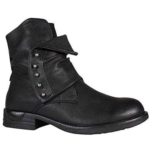 Damen Worker Stiefeletten Stiefel Boots Biker Outdoor (39, Schwarz ST153)