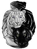 Ocean Plus Herren Kapuzenpullover Langarm Pullover Wolf Tiger Hoodie mit Kapuze (L/XL (Brustumfang: 114-134CM), Schwarzweiß Doppelter Tiger)