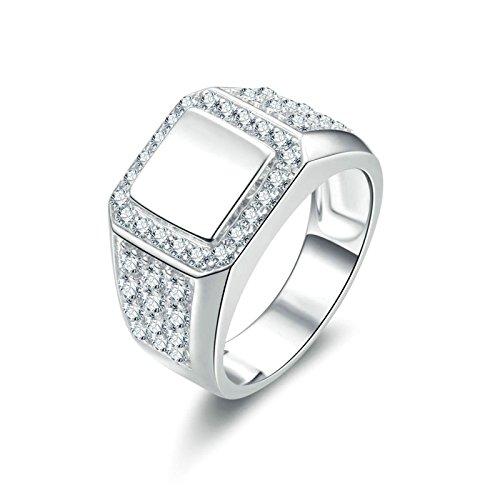 Anazoz fedi matrimonio donna bianco cubic zirconia incisione gratuita anello donna argento 925 fedina misura 21