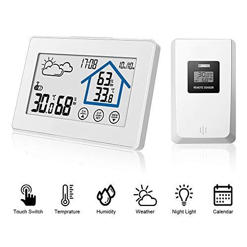 LATIT Wetterstation Funk mit Außensensor, Digital Thermometer Hygrometer für Innen und außen, Digital Funkwetterstation,mit Uhrzeitanzeige,Touchscreen -Weiß
