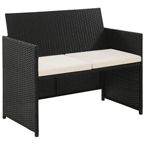 Galapara divano 2 posti imbottito, divano da giardino in polyrattan con braccioli, 100x56x85 cm nero