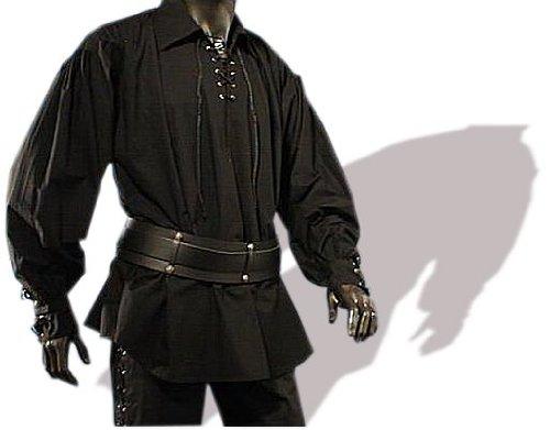 Kostüm Männer Xxxl - Piratenhemd mit breitem Kragen Gr. XXXL Gothic schwarz 395
