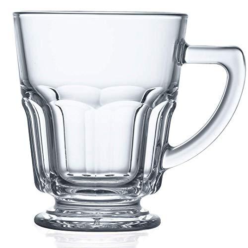 Teeglas auf Fuß, Glas mit Henkel 0,27 l, 6 STK, Gastronomie-Qualität, 6 Verschiedene Setgrößen erhältlich (6, 12, 18, 24, 30, 36 STK.), Serie Onusia