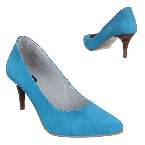 Damen Schuhe, 5453A, PUMPS LEDER HIGH HEELS Hellblau