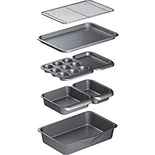 KitchenCraft MasterClass Smart Space Non Stick Carbon Steel Stackable Bakeware Set Including Roasting Tin, Baking Trays and Muffin Tray, 7 Piece Set