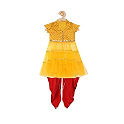 Sugar Candy Yellow Silk Anarkali with Dhoti