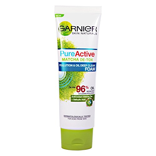 Akne Control Gel Cleanser (Garnier Pure Active Matcha de-tox follution & Öl Deep Clean Schaumstoff Akne neigende Haut grün Tee 50 ml fettige Haut Schmutz Umweltverschmutzung Partikel)