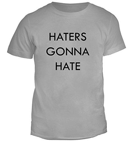 T-shirt da uomo con Haters Gonna Hate Phrase Slogan stampa. Girocollo. Large, Grigio