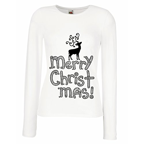 Maniche lunghe femminili T-shirt Merry Christmas - Santa's Reindeer - Xmas Outfits Bianco Multicolore
