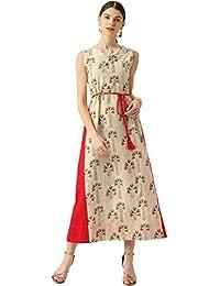 Desi Fusion Women Floral Print A-Line Midi Dress (Beige)