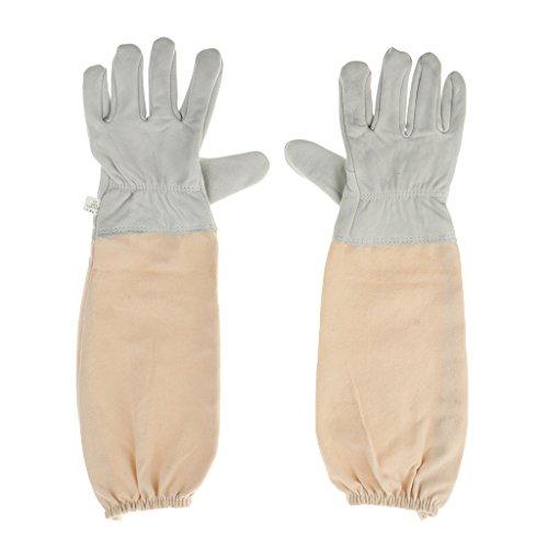 FLAMEER 1 Paar Imker Handschuhe Schutzhandschuhe für Bienenzucht aus Ziegenfell und Ventilations Baumwolle Bienenhaltung mit Belüftete langen Ärmeln Handschuhe aus Ziegenleder 52cm - Weiß grau (Ventilation Lange)