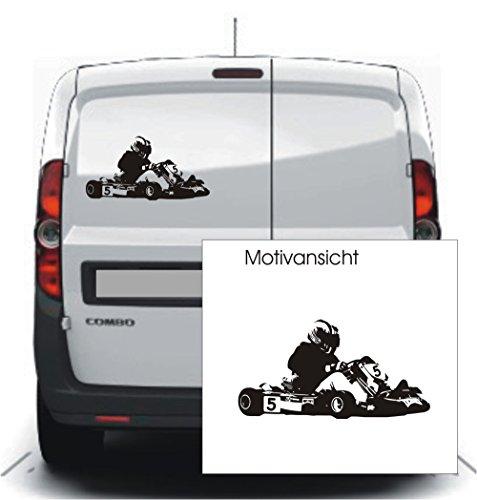 KFZ Aufkleber - GoKart Go-Kart Rennsport // verschiedene Farben und Größen // Autoaufkleber (600 mm x 310 mm, Weiß)