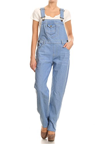 Anna-Kaci Frauen-Denim Blue Jeans Gerades Bein Taschen Latzhose (Vogelscheuche Damen Kostüm)