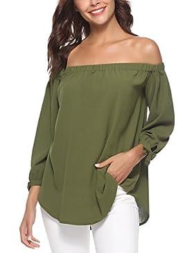 Abollria Top Casual con Spalle Scoperte Maglietta Donna con Scollo alla Bardot T-Shirts Maglia Elegante e Leggero...