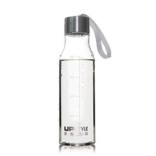UPSTYLE transparente plástico botella para hacer deporte con cuerda de nailon sin BPA bebidas botellas de agua a prueba de fugas par taza de viaje para café, té, zumo, leche Tamaño 600ml, plástico, Scale, 600