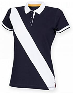 Front Row- Polo de manga corta con franja en diagonal para mujer