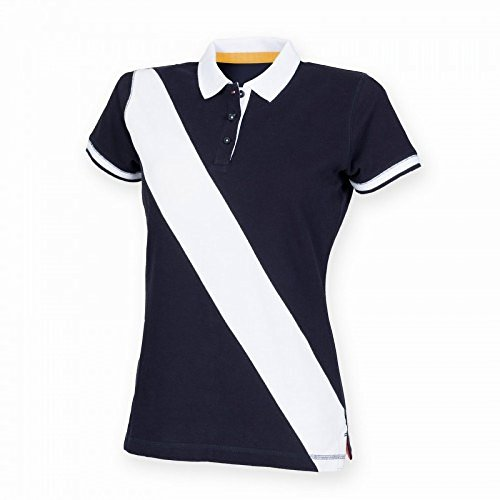 Front Row - Polo 100% Cotone - Donna Azzurro/Bianco