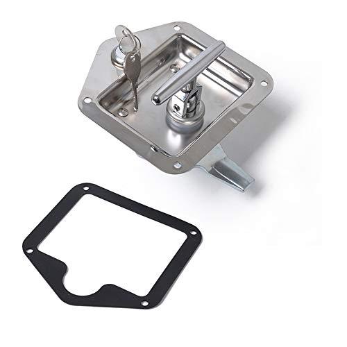 Dishykooker Edelstahl-T-Riegel-Werkzeugkiste, T-Griff, für Pickup, Wohnmobil, Werkzeug, LKW, silberfarben