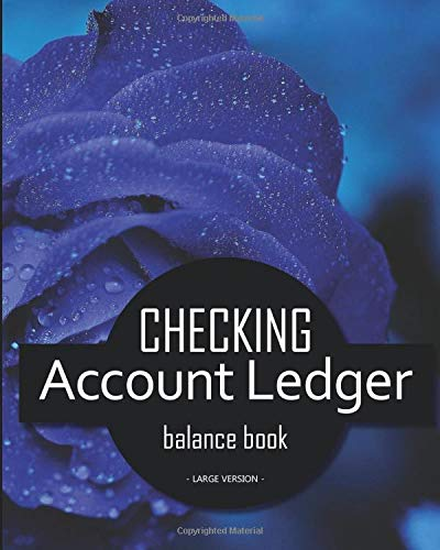 Checking account ledger - balance book - Large version: v4-4 Checkbook log | Checkbook register notebook | Personal Checking Account Balance Register ... | on the cover : photo of flowers, blue pink -