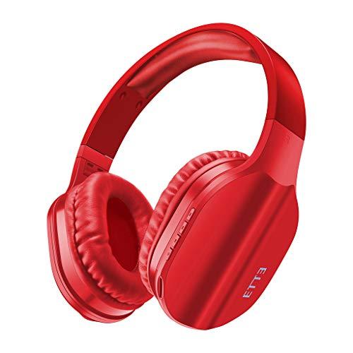 Bluetooth Kopfhörer Over Ear mit HiFi Stereo-Kopfhörer-Stirnband Gaming Bluetooth Headset mit eingebautem Mikrofon(rot)