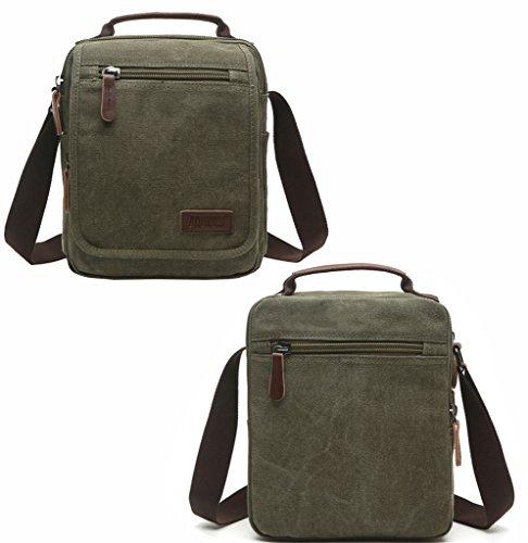 Super moderno tela messenger a tracolla con tracolla borsa bauletto Bookbag School bag, borsa per uomini e donne, Uomo, 8858 Khaki 8858 Green