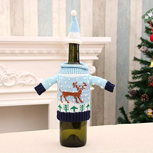 (SPFAZJ Weihnachten Wein Flasche Set Pullover Weinflasche Set 4 Weinflasche Weihnachtsschmuck Weihnachtsschmuck)