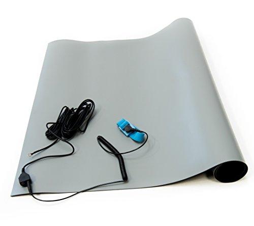 """Bertech ESD High Temperatur Gummimatte Kit mit einer Handschlaufe und Erdung Kordel, 0,2cm Dick, grau, 18"""" Wide x 24"""" Long x 0.08"""" Thick, grau, 1"""