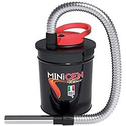 Bidón aspirador de cenizas para estufas, chimeneas y barbacoas. Con filtro HEPA protegido por una malla metálica. Tubo metálico flexible de 85cm, con lanza de 20 cm. Filtro de recambio 800751.