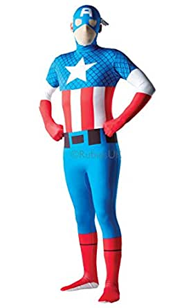 """Captain America - 2nd Skin - Adult Fancy Dress Dress Costume - XL - 5'10"""" to 6'3"""""""